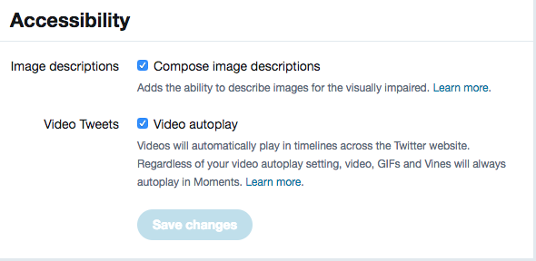 Accessibility settings in Twitter